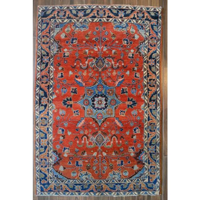 "Vintage Persian Lilihan Rug - 4' x 5'11"" For Sale - Image 11 of 11"
