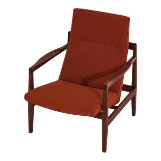 Jens Risom Walnut Lounge Chair, 1960 For Sale