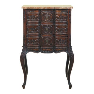 Vintage French Louis XV Marble Top Walnut Chest For Sale