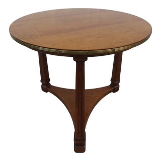 Henredon Round Side Table With Brass Accent Band For Sale