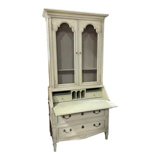 Henredon Custom Folio Paint Decorated French Country Secretary Desk Mesh Front Bookcase For Sale