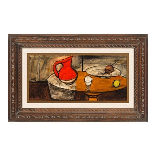 """Circa 1950 """"Untitled: Avec Pichet Rouge"""" Still Life Oil Painting by Charles Levier, Framed For Sale"""