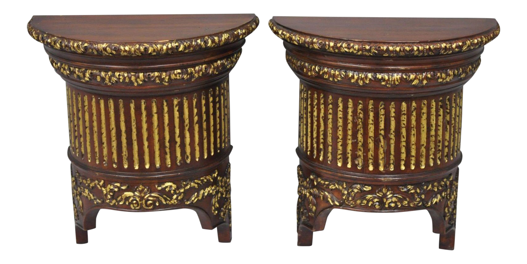 French Demilune Wooden Wall Shelves Brackets A Pair