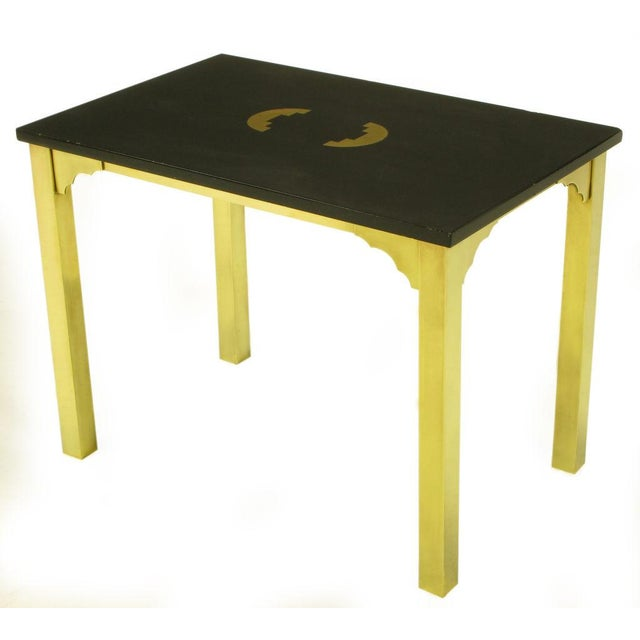 Contemporary Brass & Black Granite End Table With Geometric Inlay For Sale - Image 3 of 7