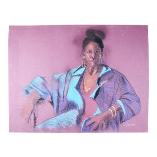 "Portrait Pastel Painting of a Woman in Purple - 19.75"" X 25.5"" Signed For Sale"