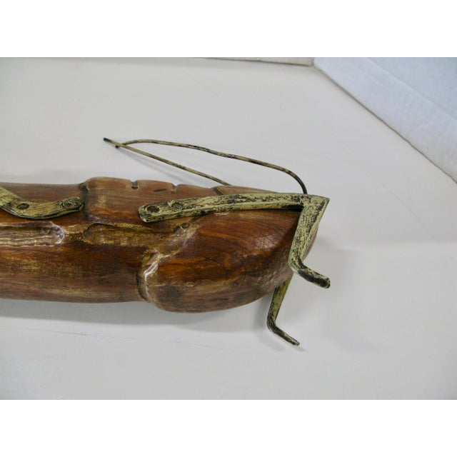 Huge Wood Grasshopper with Gilt Metal Legs For Sale - Image 10 of 13