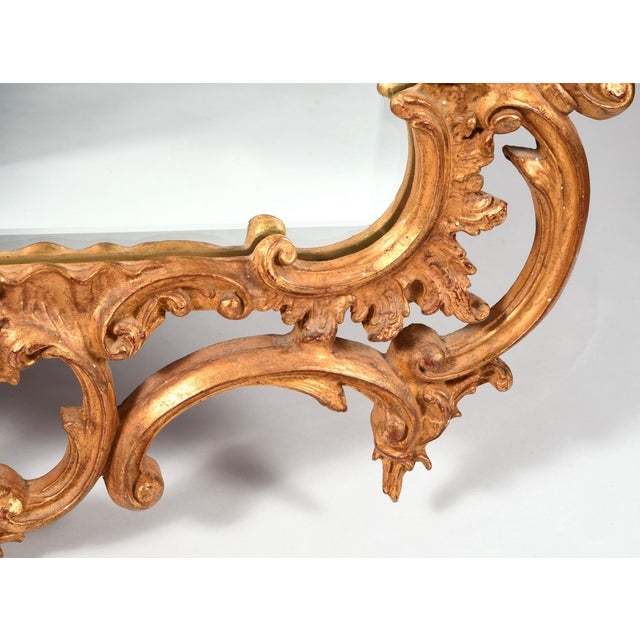 Early 20th Century Early 20th Century Chippendale Carved Wood Beveled Hanging Wall Mirror For Sale - Image 5 of 11