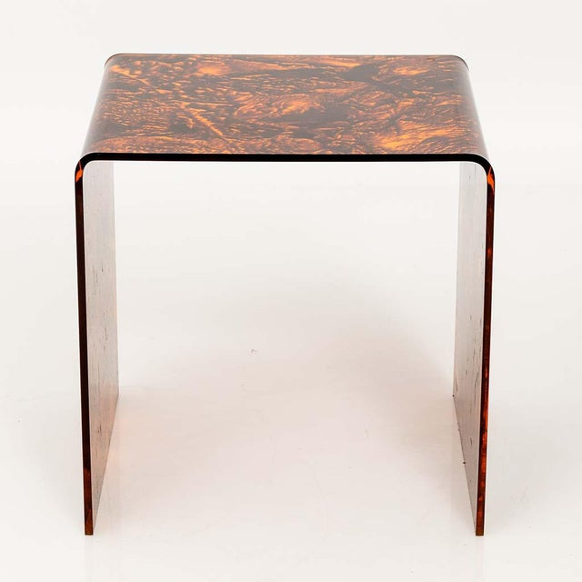 Brown Faux Tortoise Lucite Tables For Sale - Image 8 of 13