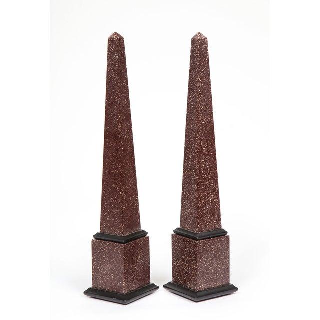 Fine Pair of Italian Grand Tour Egyptian Porphyry Obelisks For Sale - Image 12 of 13