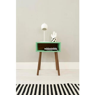 Minimo Modern Kids Nightstand in Walnut & Birch With Mint Finish Preview