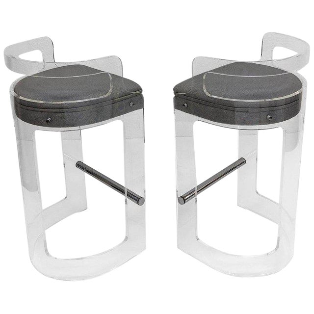 1980s Hill Manufacturing Co. Lucite and Chrome Barstools - a Pair For Sale