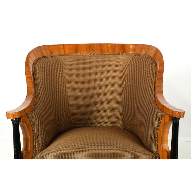 Pair of Ebonized Biedermeier Tub Arm Chairs, Circa 1825 For Sale - Image 5 of 10
