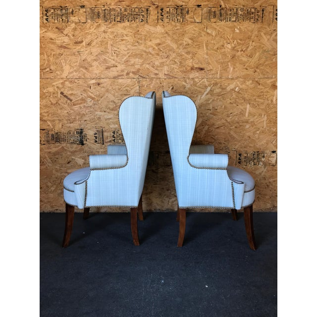 Hollywood Regency Pair of Wingback Studded Captain Chairs For Sale - Image 3 of 6