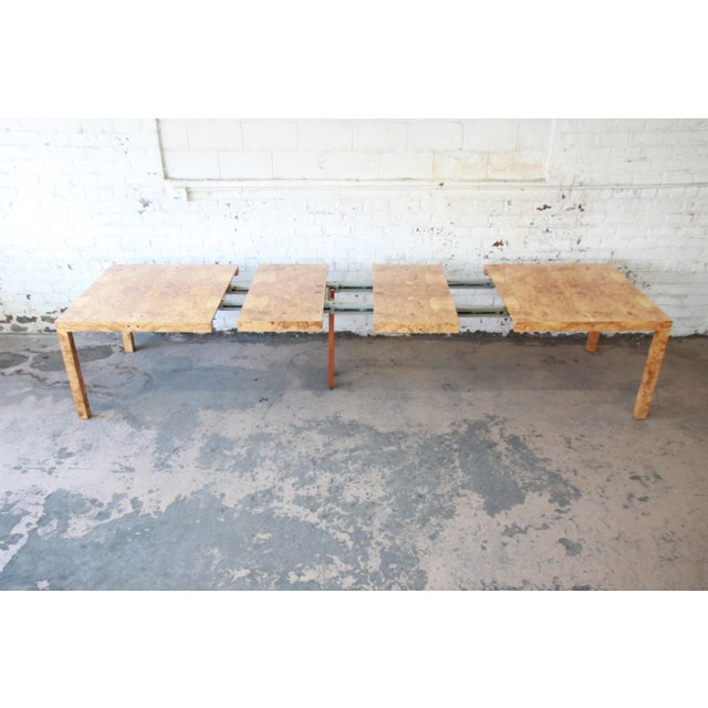 Milo Baughman for Directional Burl Wood Parsons Extension Dining Table - Image 6 of 11