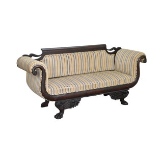 Antique 19th Century Classical Carved Mahogany Duncan Phyfe Style Sofa For Sale