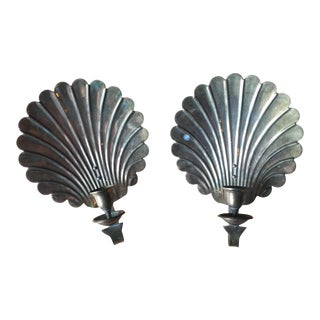 Brass Shell Candle Sconces - A Pair