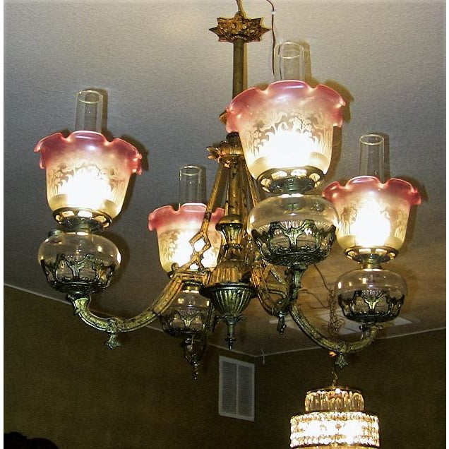 19c Pair of Bradley and Hubbard Gold Leaf 4 Arm Chandeliers - Image 3 of 13