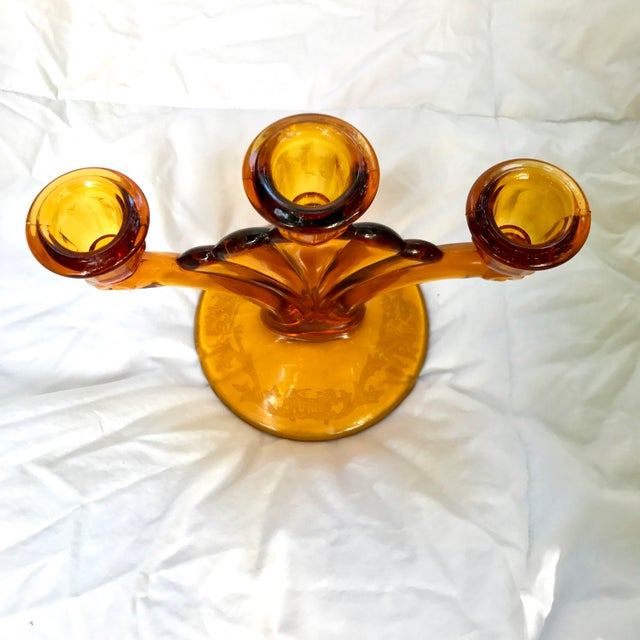 Pair of Amber Etched 3 Armed Art Deco Glass Candelabras - Image 7 of 7