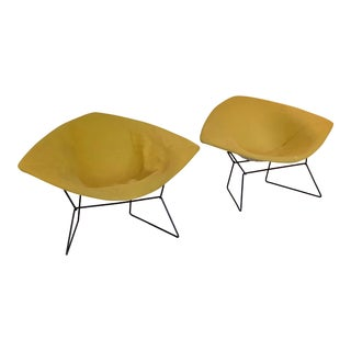 Henry Bertoia Large White Diamond Chairs With Yellow Upholstery - Pair For Sale