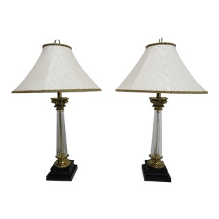 1990s Vintage Ethan Allen Corinthian Column Table Lamps - A Pair For Sale