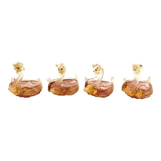 Murano Handblown Glass Swan-Shaped Salt Cellars Attributed to Salviati - Set of 4 For Sale