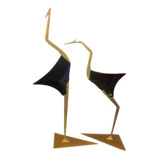1960s De Stijl Gold Iron and Black Lacquer Wood Bird Sculptures - a Pair For Sale