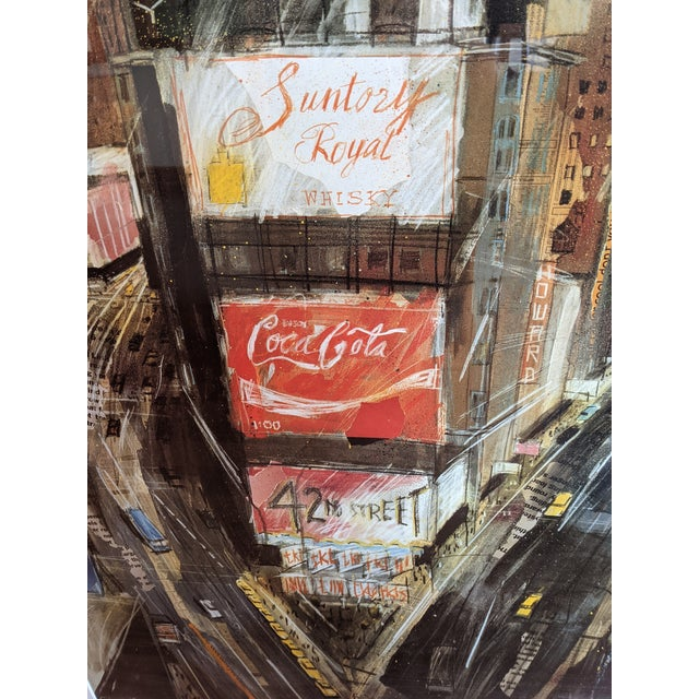 """Contemporary 1980s """"Times Square"""" Cityscape Lithograph, Framed For Sale - Image 3 of 12"""