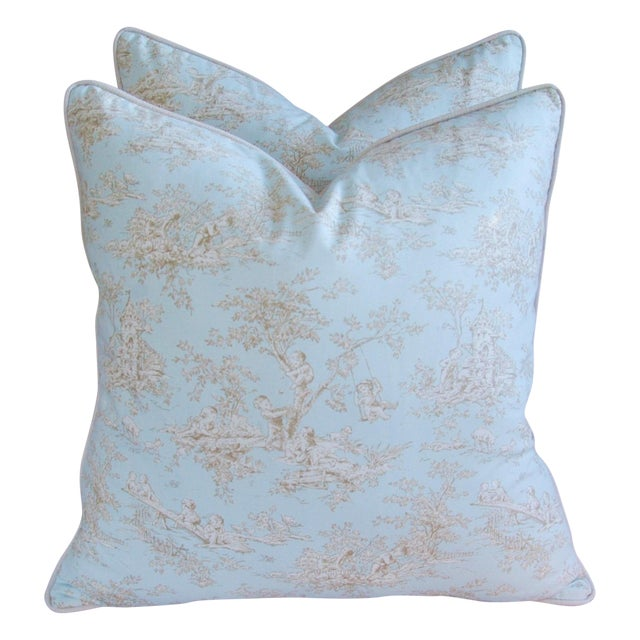 Designer French Blue & White Toile Pillows - Pair - Image 1 of 8