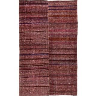 Vintage Mid-Century Striped Wool Kilim Rug - 5′6″ × 8′11″ For Sale