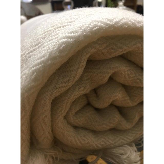 White Tassel Cashmere Blend Blanket - Image 9 of 11