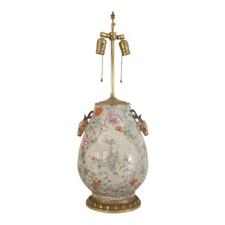 Asian Chinese Style Table Lamp with a Floral Decoration For Sale