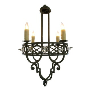 Well-Crafted Spanish Dark Green Painted Hand-Wrought iron Four-Light Chandelier