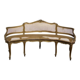 Antique French Provincial Louis XVI Rococo Gold Cane Settee Loveseat For Sale