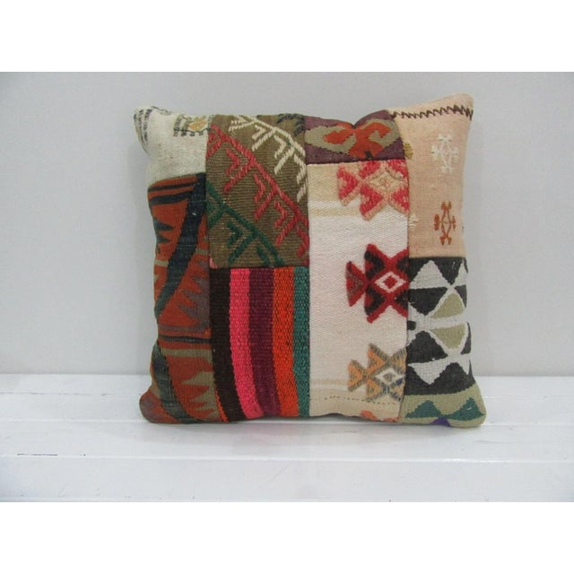 Vintage Handmade Patchwork Kilim Pillow Cover For Sale - Image 4 of 4