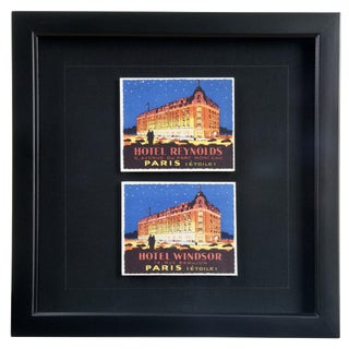Framed French Paris Hotel Luggage Labels For Sale