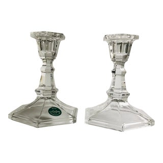 Modern Clear Glass Lenox Made Expressly Candle Holders - a Pair For Sale