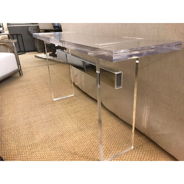 Acrylic Console Table With Metal Beam For Sale - Image 4 of 7
