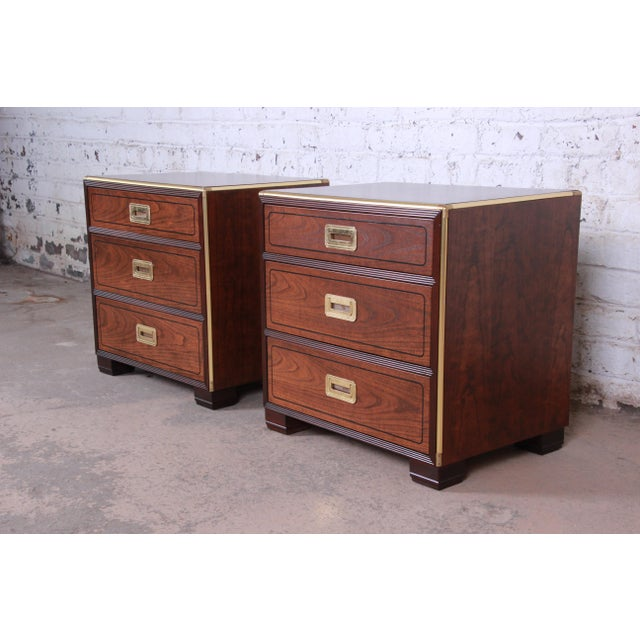 Baker Furniture Company Baker Furniture Campaign Walnut and Brass Nightstands - a Pair For Sale - Image 4 of 13