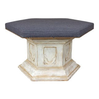 Antique French Ecclesial Hexagonal-Shaped Ottoman With Gray Wool Upholstery For Sale