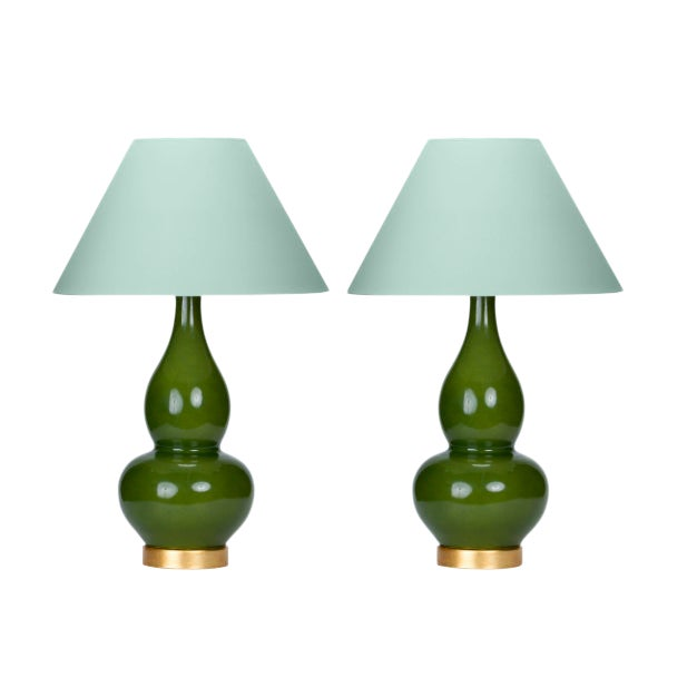 Casa Cosima Double Gourd Table Lamp, Olive Craquelure/Palladian Blue Shade - a Pair For Sale
