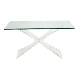 Mid-Century Modern Lucite Base and Glass-Top Console Table For Sale