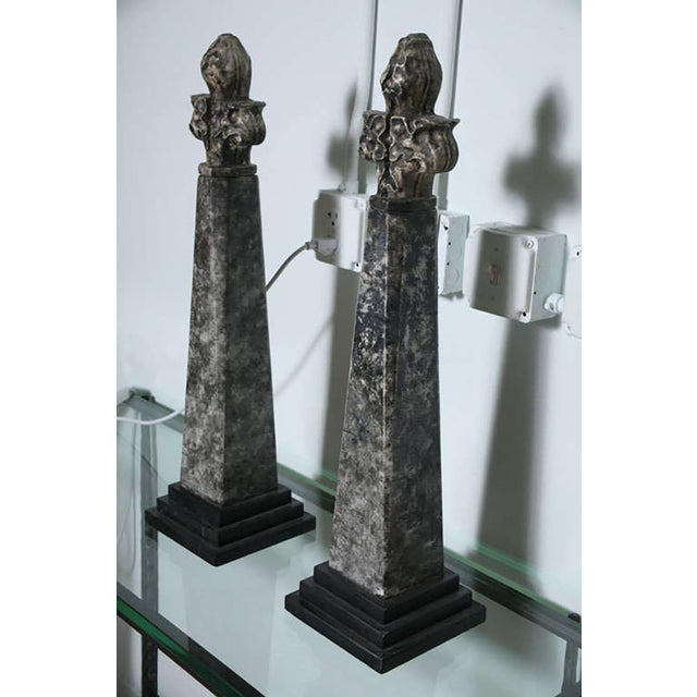 Pair of Stone and Ceramic Architectural Elements For Sale - Image 9 of 9