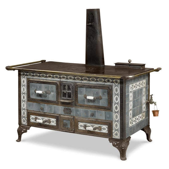 Gray SOUGLAND-AISNE STORED HEAT COOK STOVE For Sale - Image 8 of 8