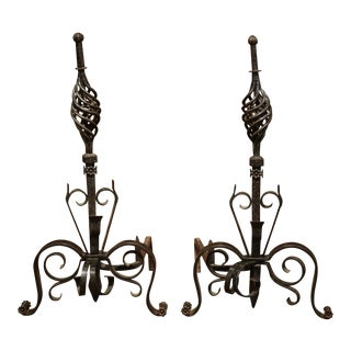 Pair of 19th Century French Black Iron Andirons For Sale