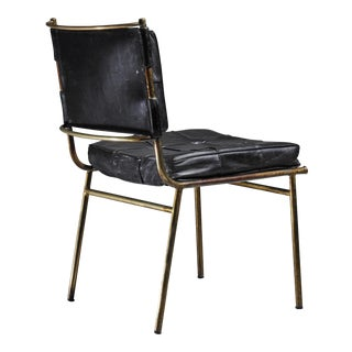 Mathieu Matégot Rare Chair with Brass Frame and Leather Cushions, France For Sale