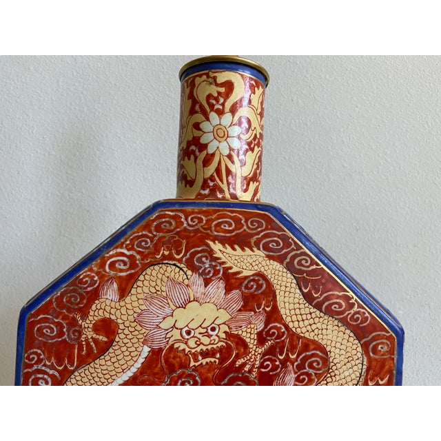 Wood Antique Chinese Dragons Lamp & Shade For Sale - Image 7 of 12
