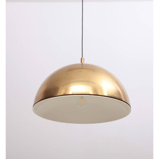 Huge Brass Pendant Lamp from 1960s Italy with White Enamel Inner Shade For Sale - Image 6 of 9