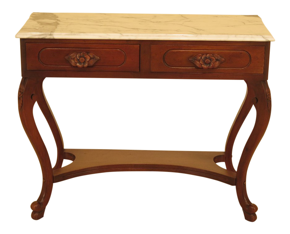 1960s Vintage Victorian Style Marble Top Mahogany Console Table