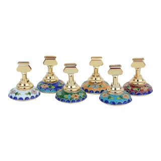 Floral Cloisonné Place-Card Holders - Set of 6 For Sale
