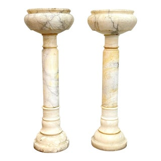 Vintage Marble Urn Planters - a Pair For Sale